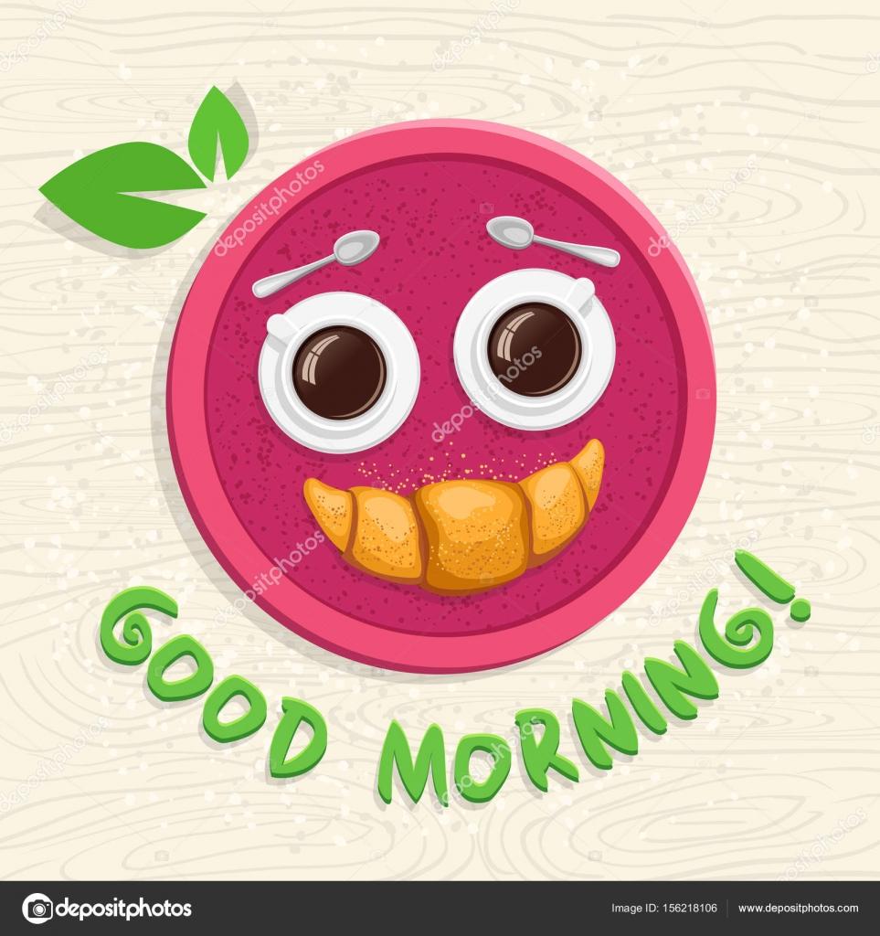 Guten Morgen Zwei Tassen Kaffee Und Ein Croissant Auf Einem Tablett