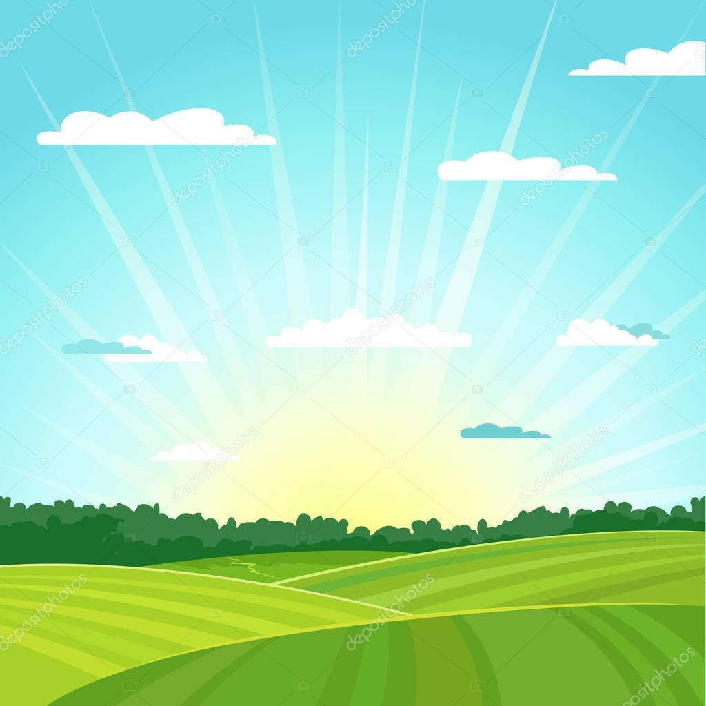 Natural country summer landscape background. Sunrise. Vector illustration.