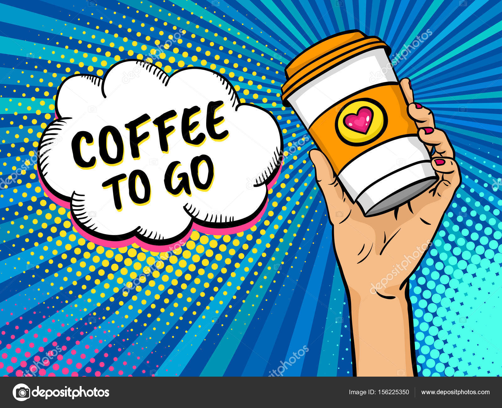 Female Travel Holding Art Pop Background Mug Coffee With Bright Hand q5R3AL4j