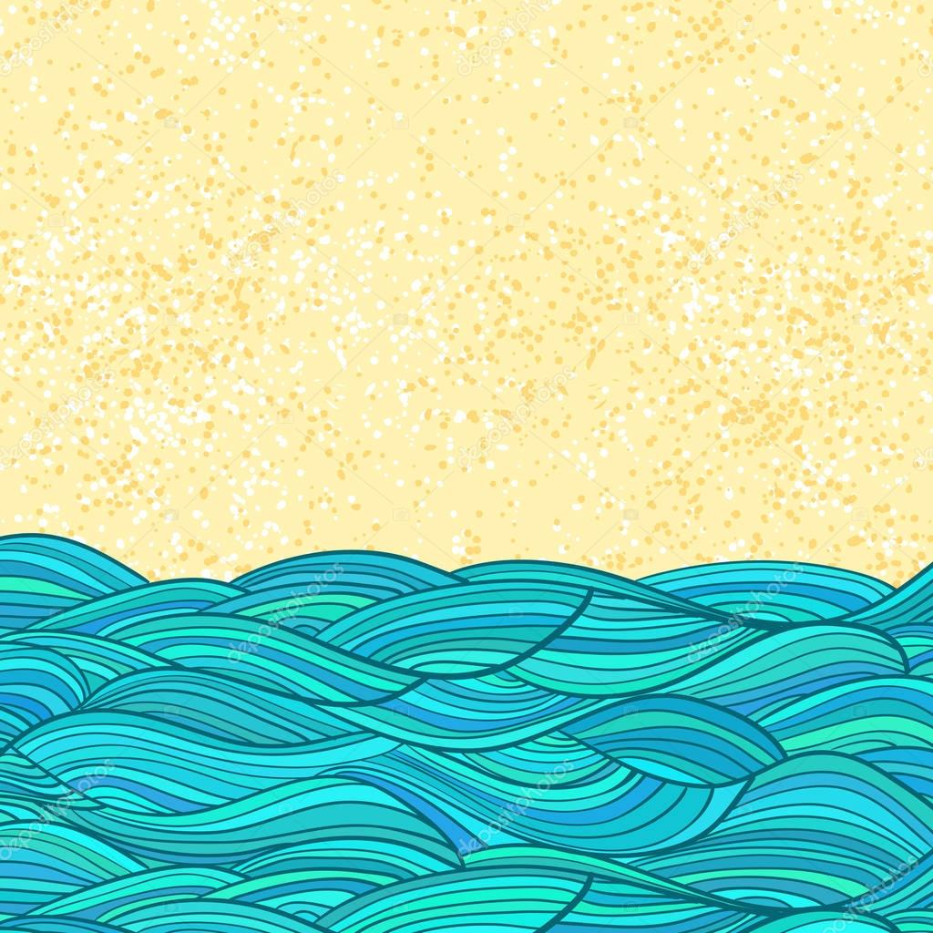 Sea waves and sand abstract flat background.