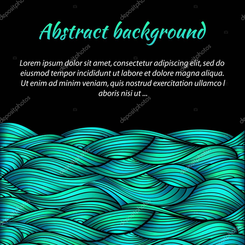 Abstract sea waves on black background. Vector illustration template.