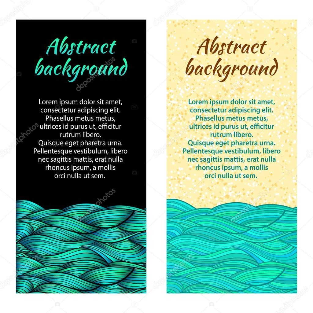 Hand drawn sea waves and sand. Ocean waves on black background. Two abstract vector flat backgrounds.