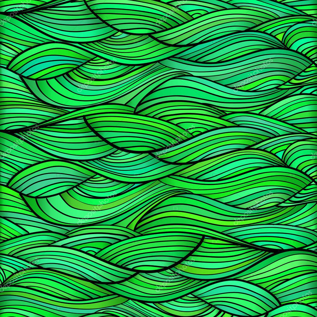 Green hand drawn waves. Abstract vector background.