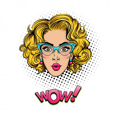 Pop art female face. Sexy surprised young woman head with wide open eyes, open mouth and blonde curly hair in glasses and Wow halftone text. Vector colorful object in pop art retro comic style on white background. stock vector
