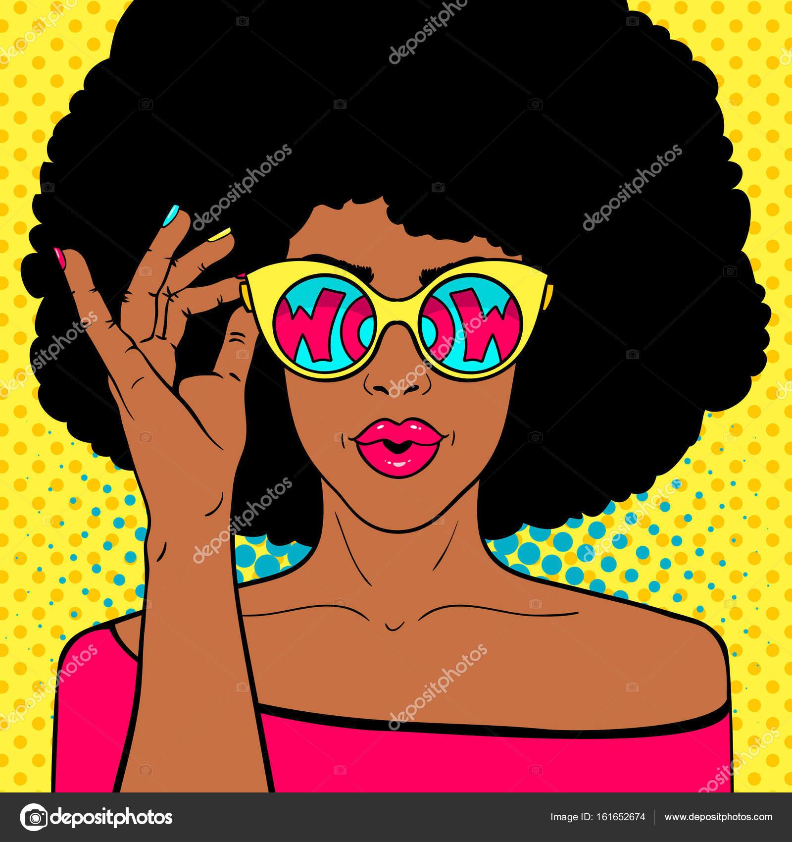 Wow Pop Art Gesicht Sexy überrascht Schwarze Frau Mit Afro Haar Und