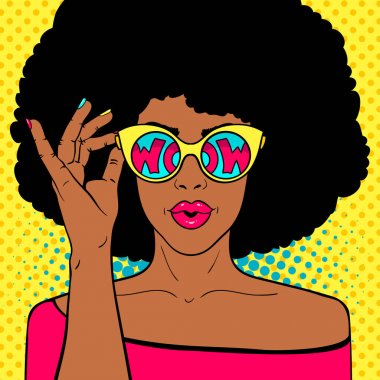 Wow pop art face. Sexy surprised black woman with afro hair and open mouth holding sunglasses in her hand with inscription wow in reflection. Vector colorful background in pop art retro comic style.