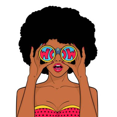 Wow face. Sexy surprised black woman with afro hair and open mouth holds binoculars in her hands with inscription wow in reflection. Vector object in pop art retro style isolated on white background.