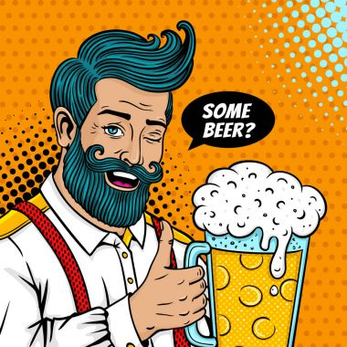 Pop art male face. Sexy bearded man open smile and big mug of beer in hand with thumb up winks and some beer? speech bubble. Vector colorful illustration in retro comic style. Party invitation poster.