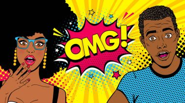Wow afro american couple. Handsome young surprised man and sexy woman in glasses with open mouths and speech bubble with OMG! text. Vector colorful cartoon background in pop art comic retro style. clip art vector