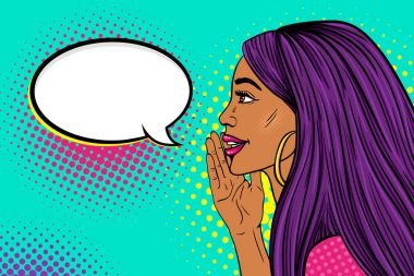 Wow female face. Profile of sexy surprised young womangirl with long purple hair and dark skin with a smile telling a secret and empty speech bubble. Vector background in pop art retro comic style.