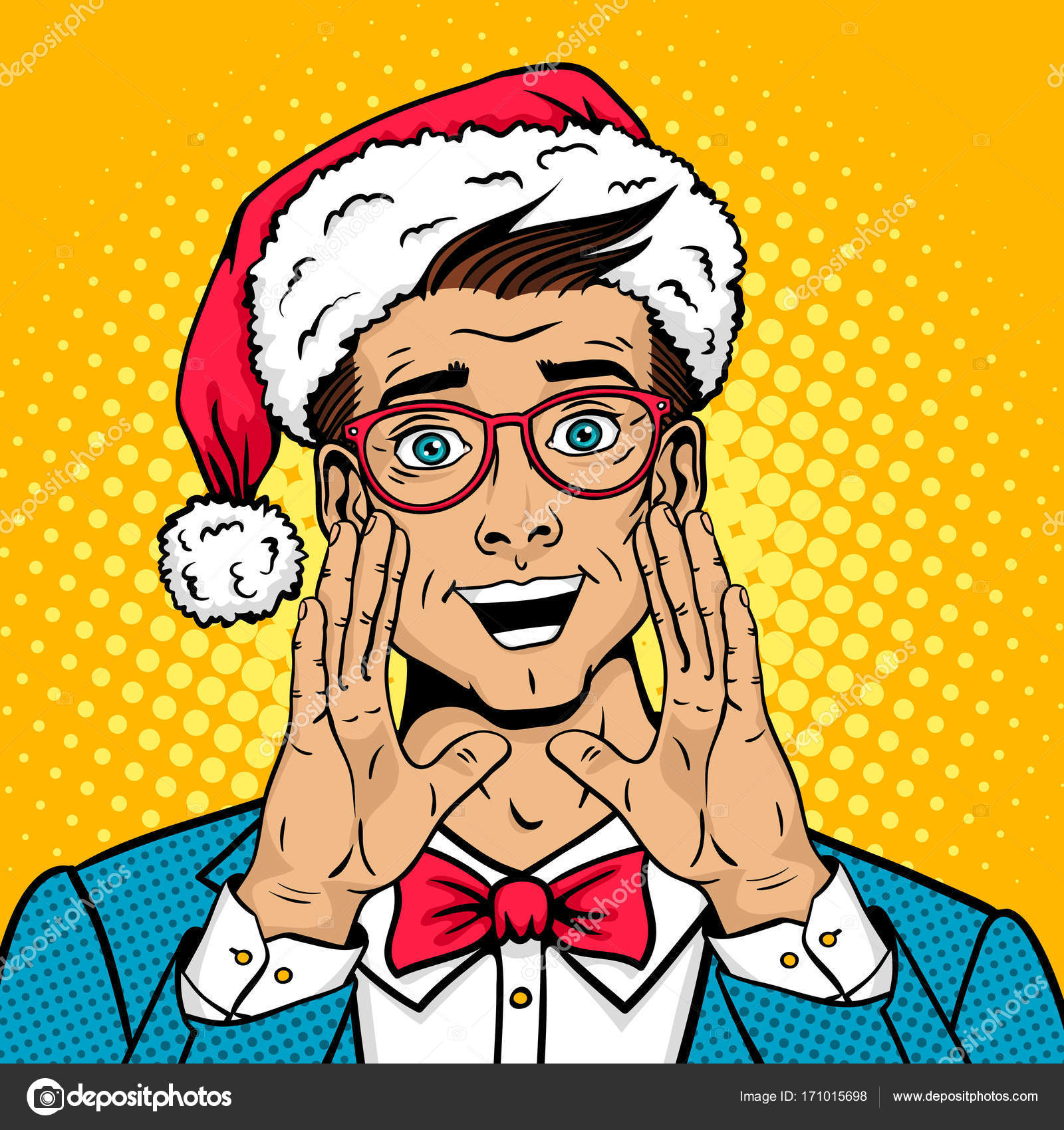 Vector Vintage Pop Art Beach Holiday Illustration Stock: Merry Christmas Pop Art Male Face. Surprised Happy Man In