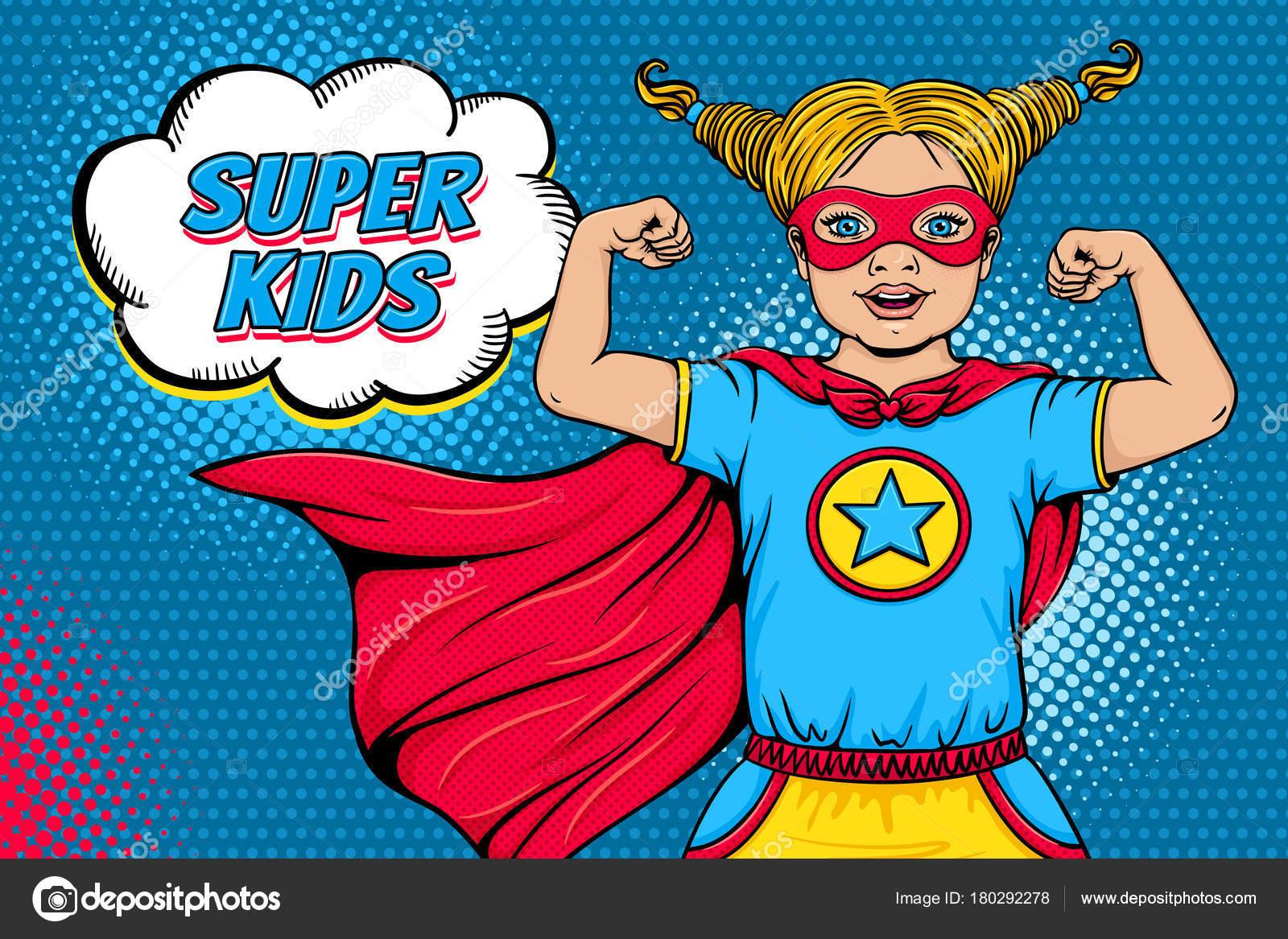 Wow face. Cute surprised blonde little girl dressed like superhero ...