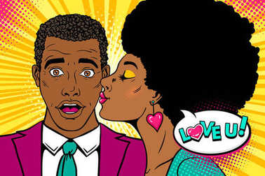 Wow couple. Happy african surprised man with open mouth and sexy womanwith afro hairstyle kissing him and Love you speech bubble. Vector background in retro pop art comic style. Valentines day poster.