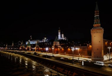 Night view of Moscow Kremlin in winter