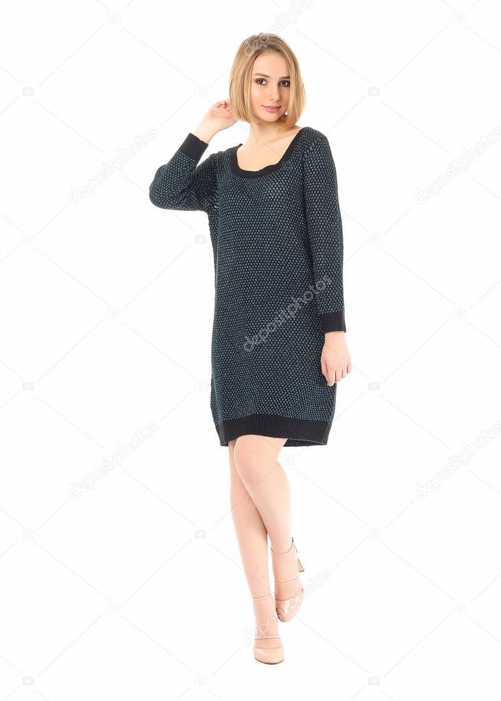 Sexy modelo en breve Vestido punto aislado en blanco — Fotos de ...