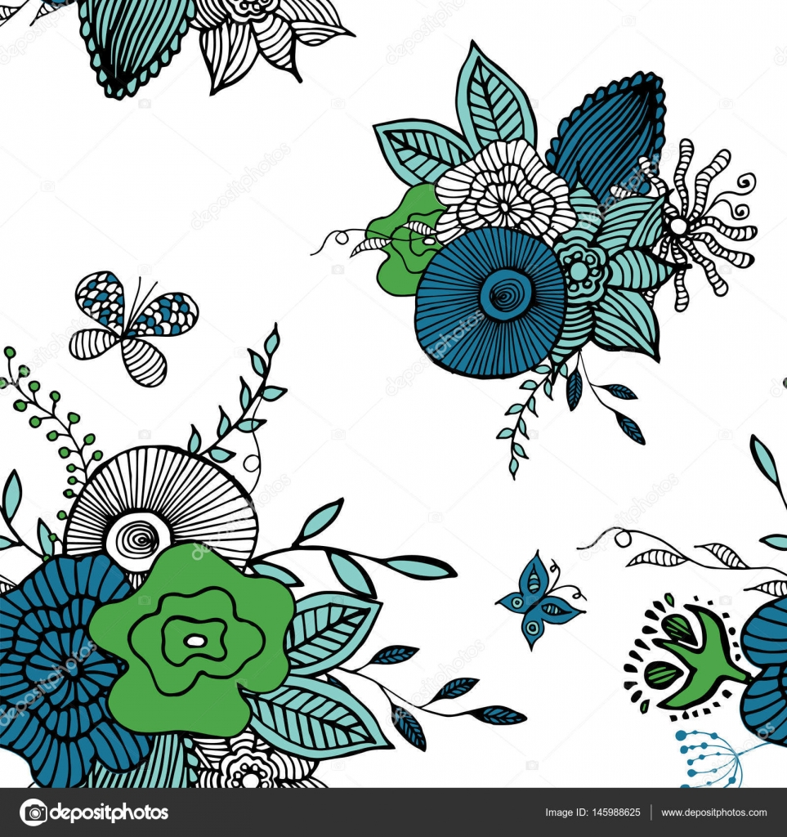 Botanic Texture Detailed Flowers Illustrations Stock Vector