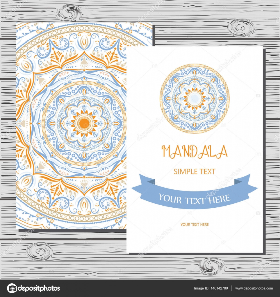 vector flyer template with hand drawn mandala stock vector