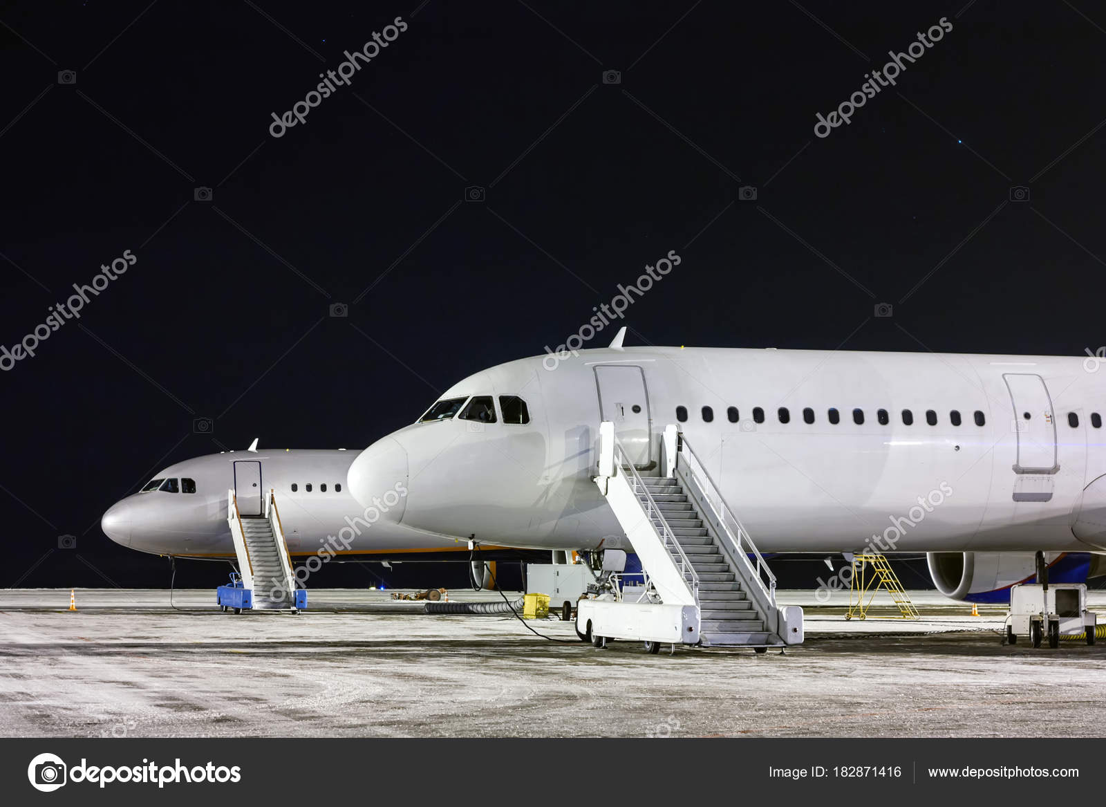 Front Part Two Aircraft Passenger Boarding Stairs Night Winter Airport U2014  Stock Photo
