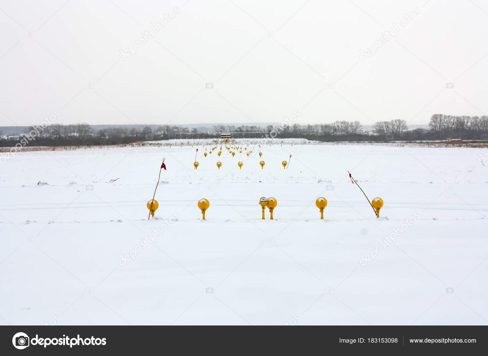 Approach Lights Winter Airport Runway Back Side — Stock
