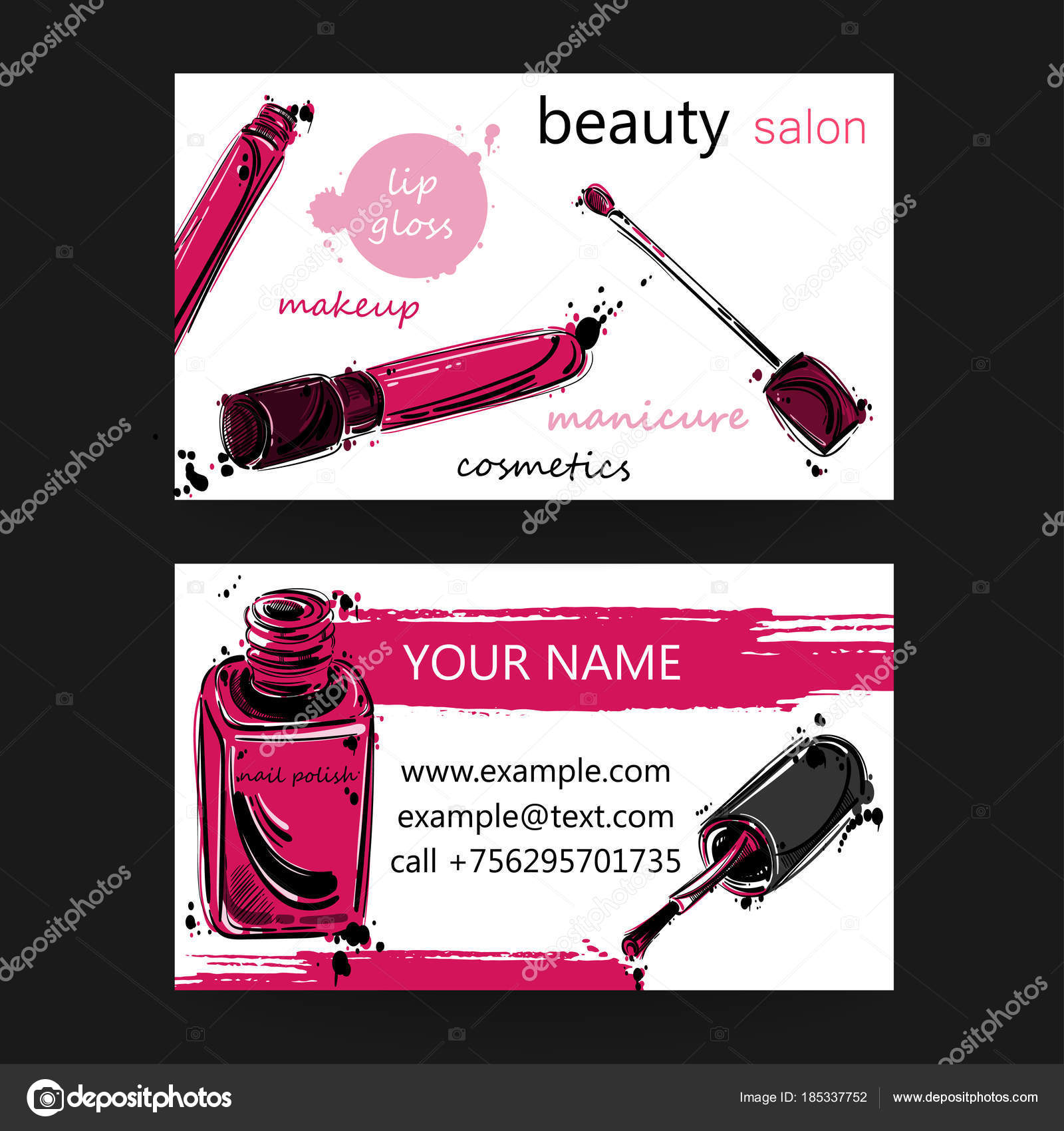 Business card of beauty salon. — Stock Vector © Tyhinka #185337752