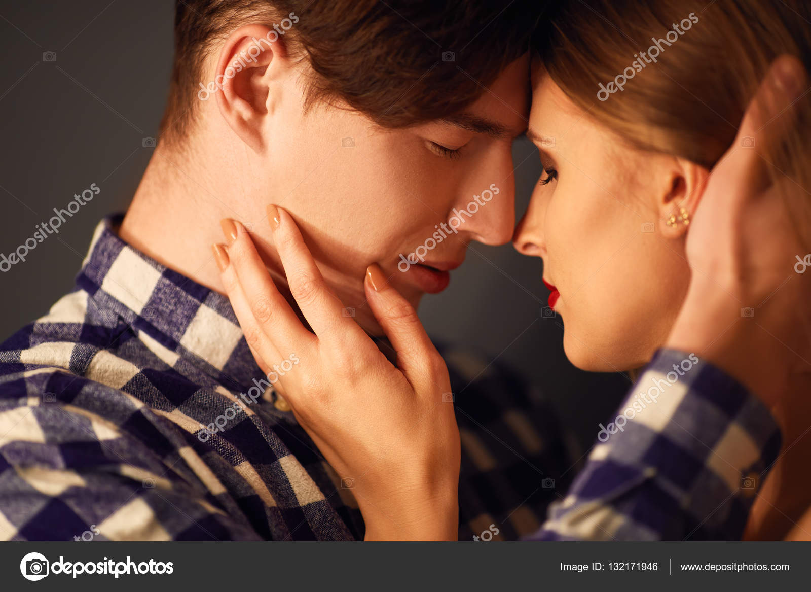 Hot sexy couple kissing are