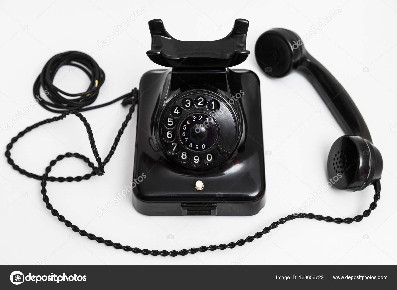 Alte Vintage stationäre schwarz Telefon mit Zifferblatt und einem ...