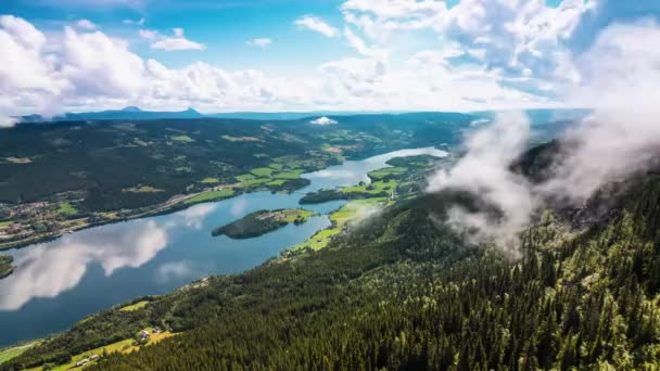 the View From the Heights to the Beautiful Nature Norway Mountains and the City, Which is Located at the Foot of the Lake With Blue Water.