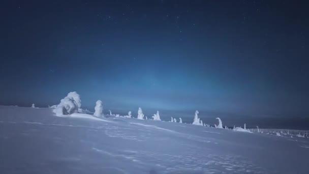 Zimní noci ve Finsku. Čistá, hvězdné oblohy. Malé, bílé mraky jsou viditelné. Jasné hvězdy v noci jsou jasné