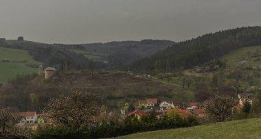 View for Brumov castle in spring cloudy day in Moravia