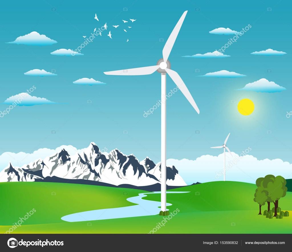 風力発電のイラスト ストックベクター Jeler 153590832