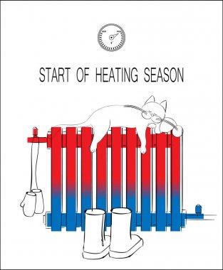 Start of heating seasons drawing concept. clip art vector