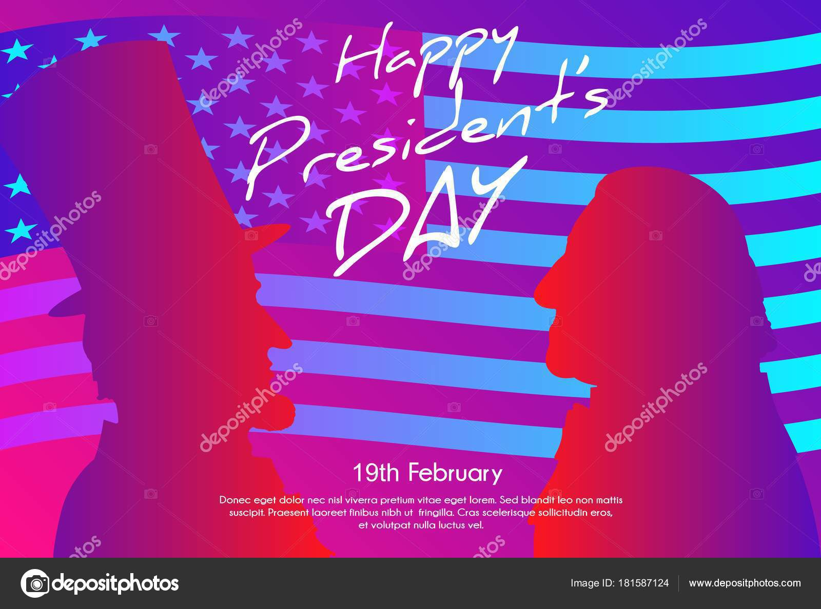 Día Presidentes Feliz Fondo Estados Unidos Siluetas George ...