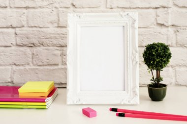 White Frame Mock Up, Digital MockUp, Display Mockup, Styled Stock Photography Mockup, Colorful Desktop Mock Up. Office desk neon pencil, pretty pink notebooks, rubber