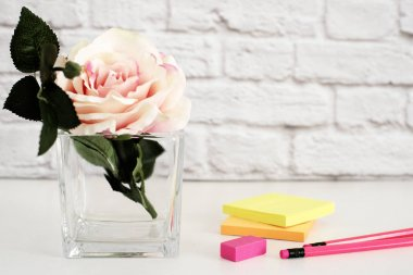 Hot Pink Styled Desktop. Garden Roses Styled Stock Photography. Product Mockup, Graphic Design. Rose Flower Mockup. Feminine Light Mock up