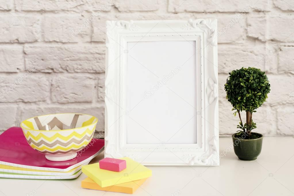 Frame Mock up. White Frame mockup. Styled Stock Photography ...