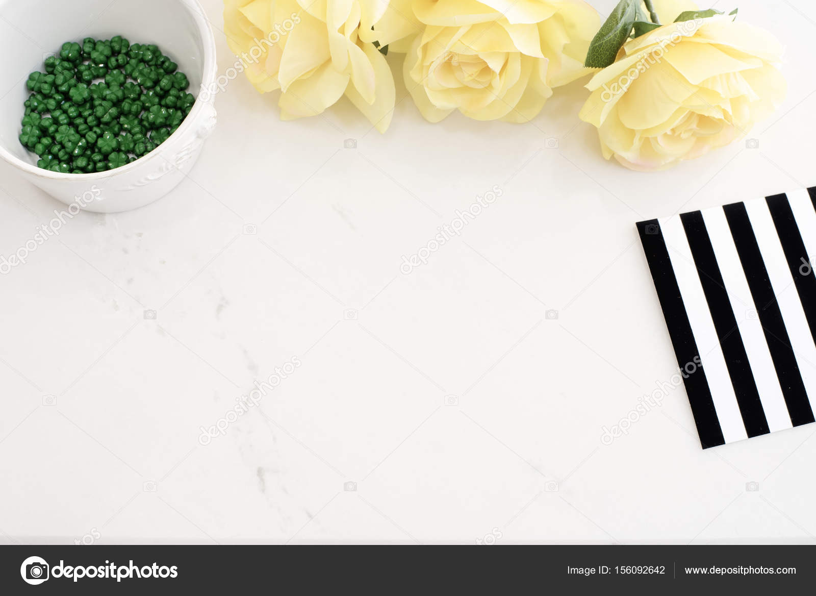 Rose Gold Marble Desktop Wallpaper Light Marble Stylish Desktop With Yellow Roses Black White Stripe Design Header Website Or Hero Website Top View Empty Place Copy Space Feminine Background White