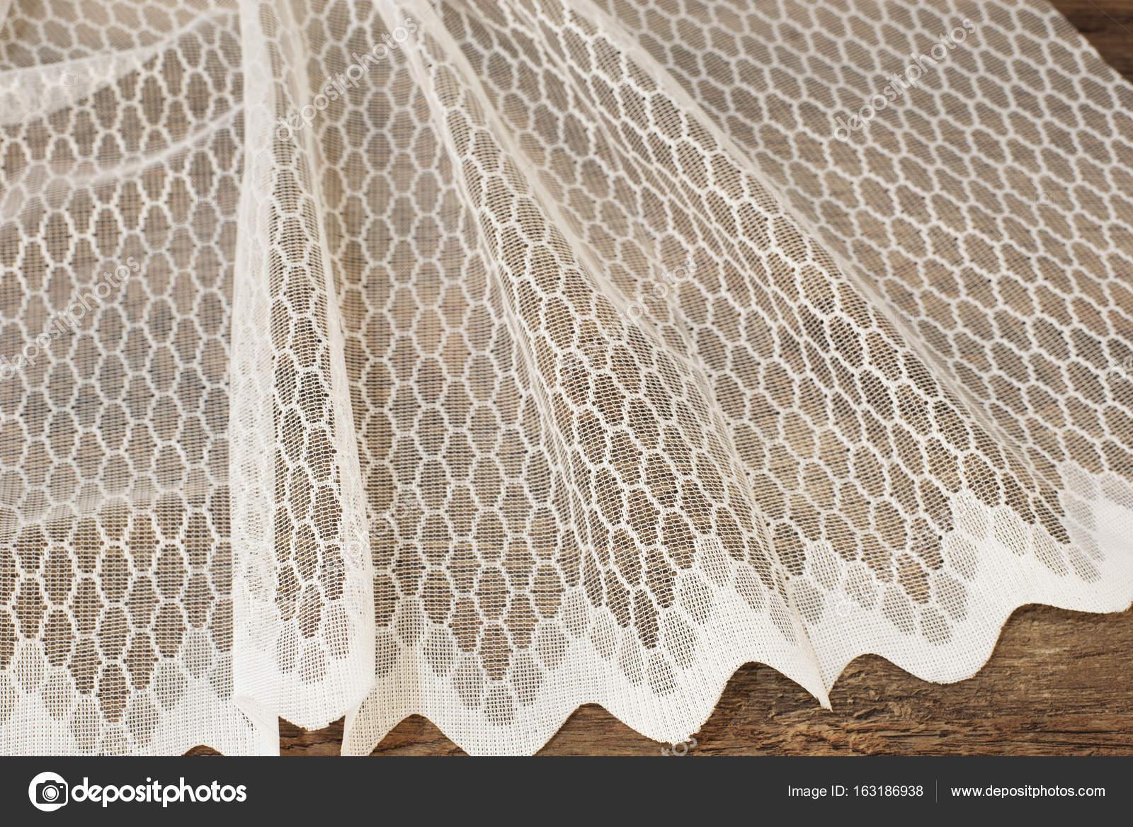 Close-up van de mooie witte Tulle. Pure gordijnen stof monster ...