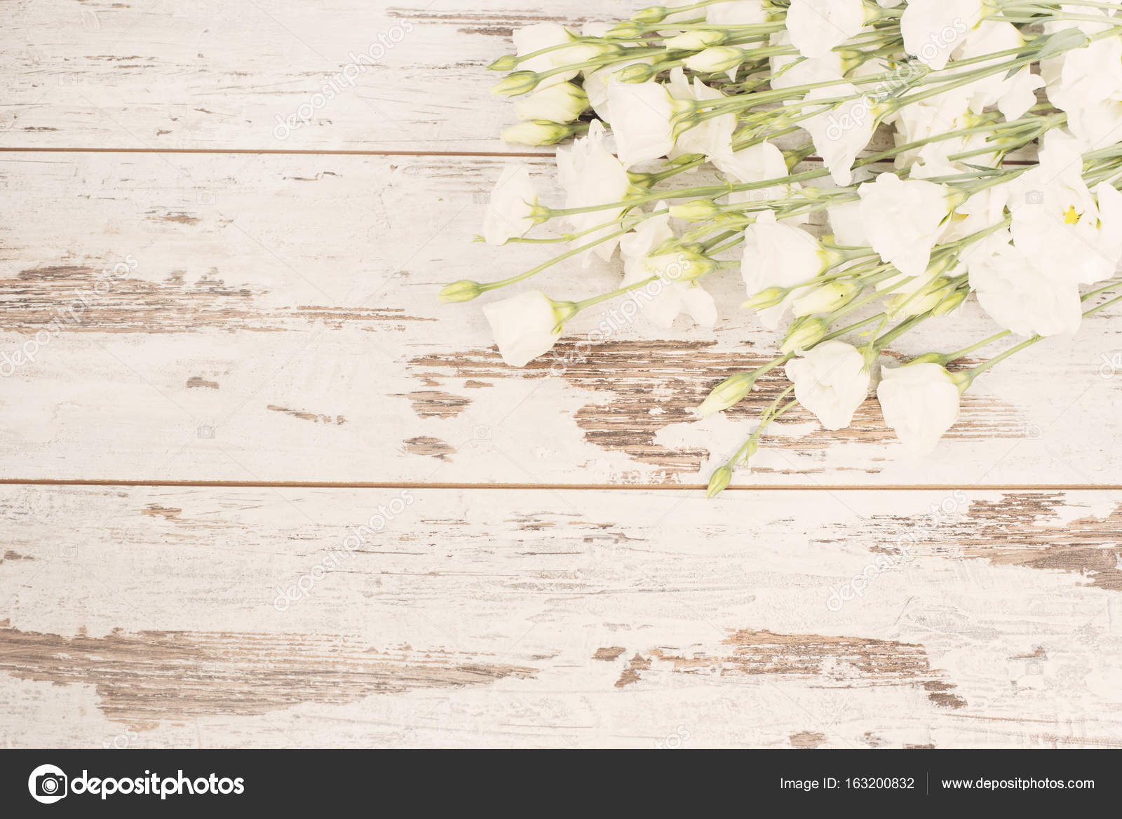 Stunning Fresh Bouquet Of White Flowers On Light Rustic Wooden Background Copy Space Floral Frame Wedding Gift Card Valentines Day Or Mothers