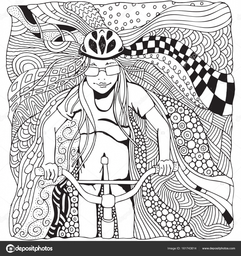Montar a bicicleta de chica joven — Archivo Imágenes Vectoriales ...