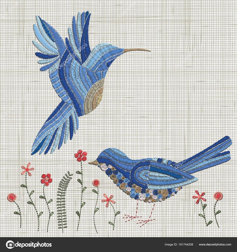 Aves de bordado azul — Archivo Imágenes Vectoriales © imhope.yandex ...