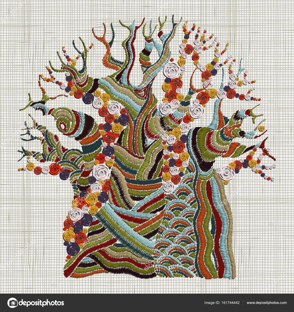 Árbol Baobab bordado — Archivo Imágenes Vectoriales © imhope.yandex ...