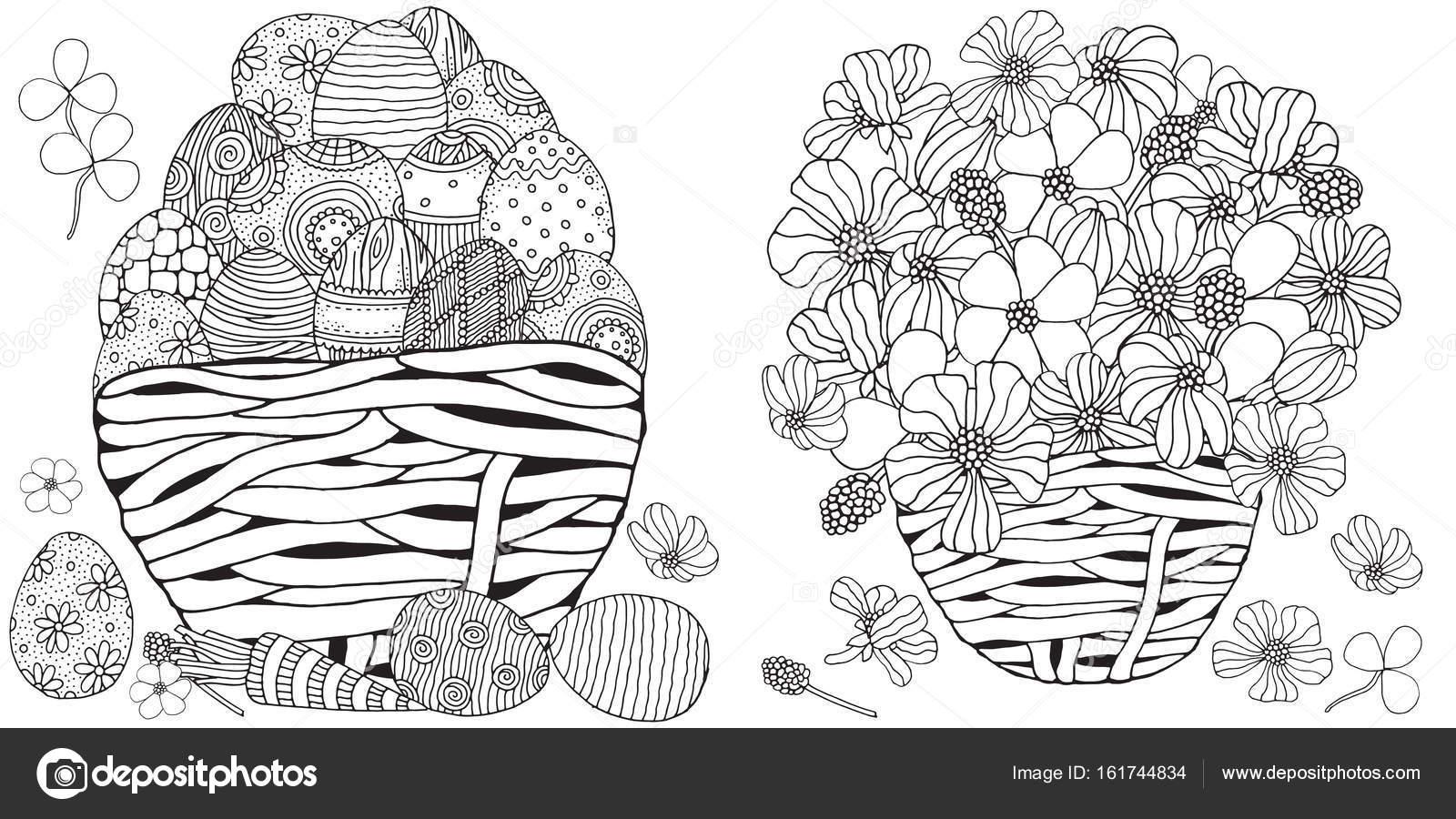 cesta con huevos de Pascua y flores de primavera — Vector de stock ...