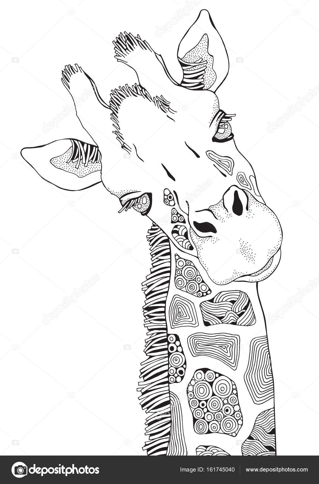 Zürafa Zentangle Tarzı Stok Vektör Imhopeyandexru 161745040