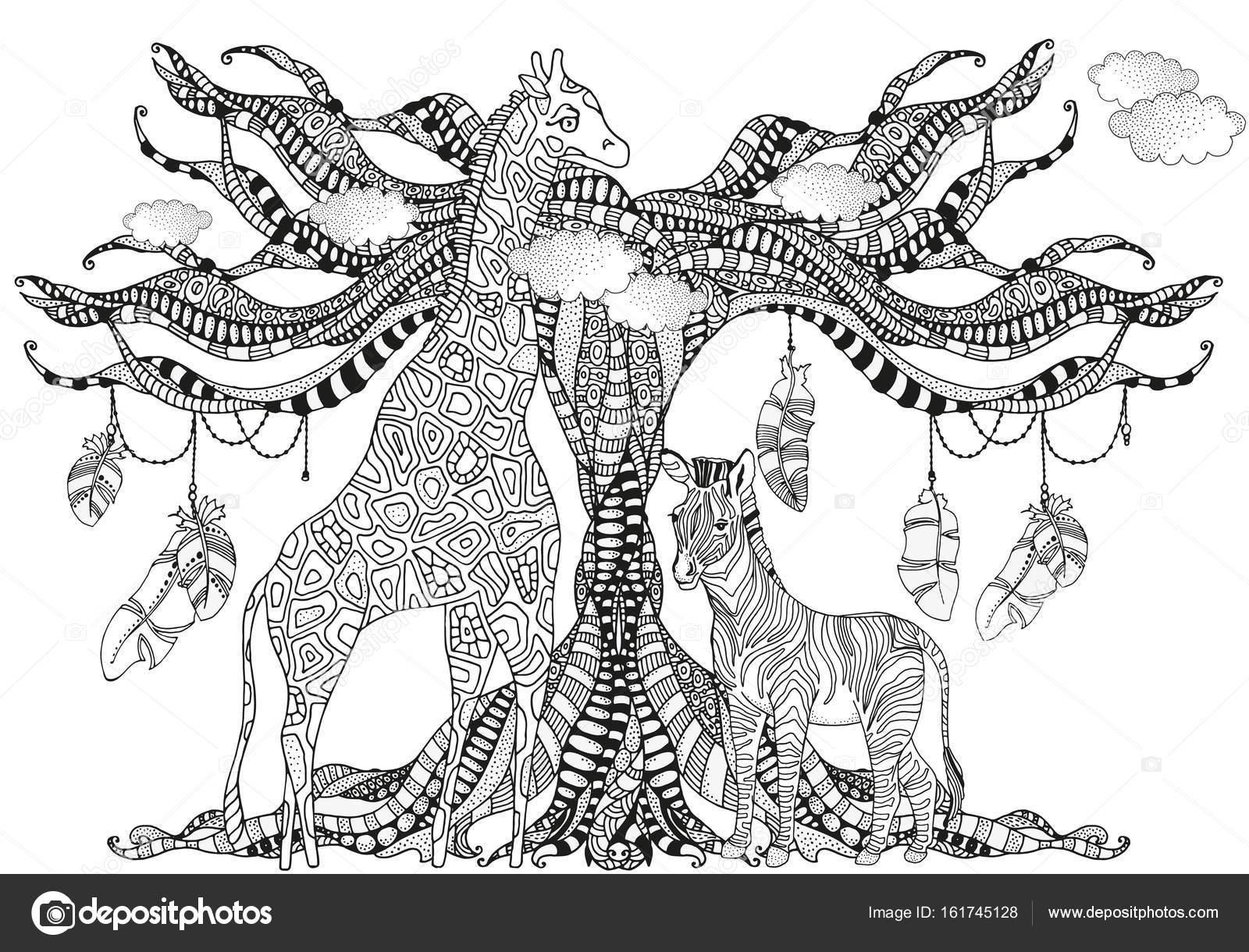 Giraffe und Zebra in Zentangle Stil — Stockvektor © imhope.yandex.ru ...
