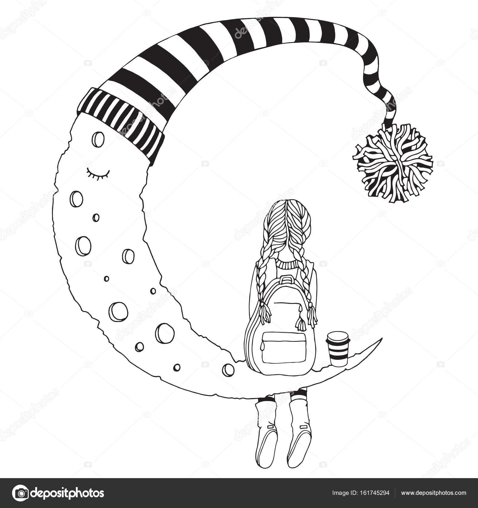 Ayda Oturan Küçük Kız Stok Vektör Imhopeyandexru 161745294