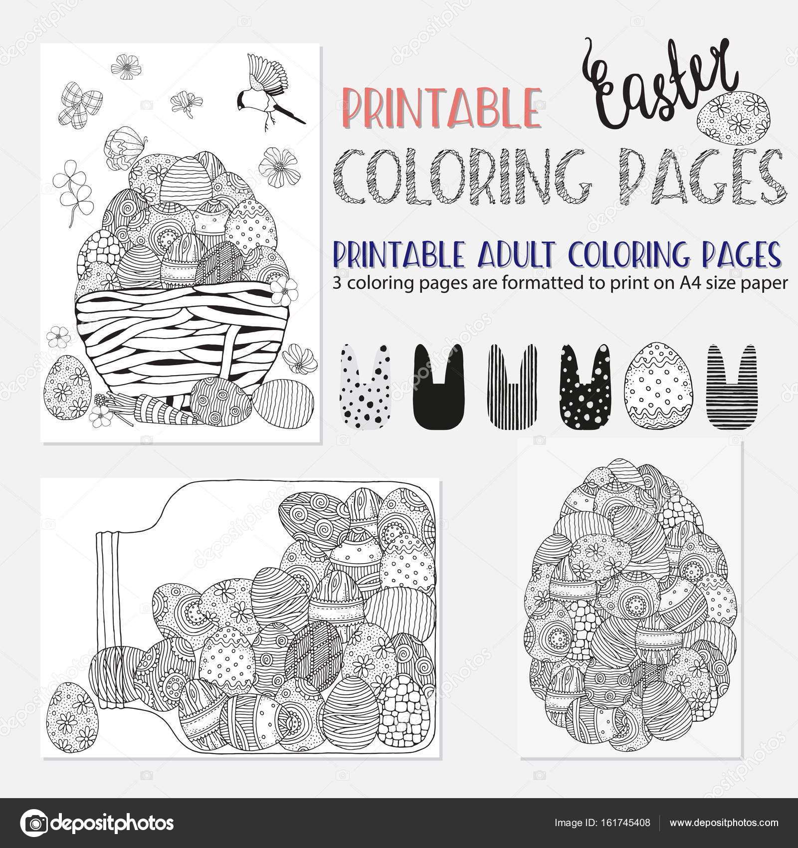 Kleurplaten Voor Volwassenen A4 Formaat.Set Van Ester Boek Kleurplaten Stockvector C Imhope Yandex