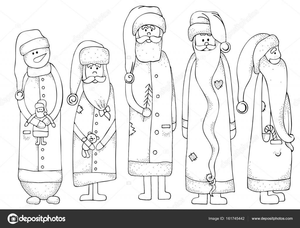 dibujado a mano Papá Noel y muñeco de nieve — Archivo Imágenes ...