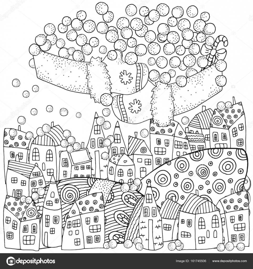 大人の塗り絵冬パターン ストックベクター Imhopeyandexru 161745506