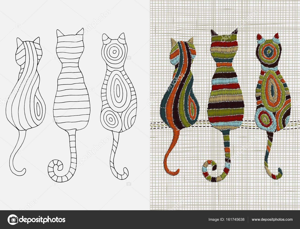 Diseño de bordado con los gatos — Vector de stock © imhope.yandex.ru ...