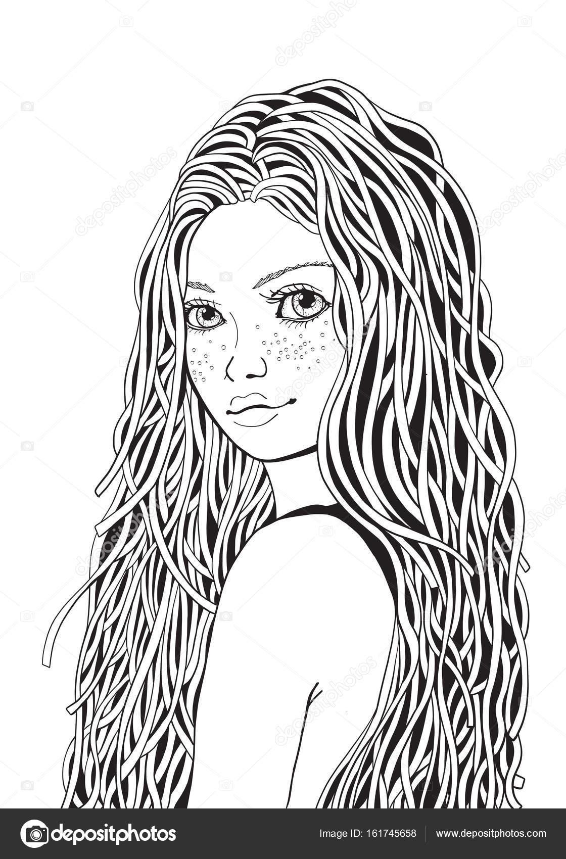 niña con el pelo largo y rizado — Vector de stock © imhope.yandex.ru ...